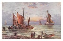 Sailboats Nautical Painting Sea Coast Beach Fishing Boat Vintage German ... - $4.99