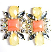"""Mode Cream & Pink Shourouk Style Look Lucite 1.75"""" Drop Dangle Post Earrings image 2"""