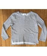 * old navy gray stripe waffle knit long sleeve tee shirt medium 8 girl - $3.47
