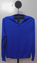 Club Room Men's Lazulitea Blue Merino Wool Light Weight V-Neck Sweater 2XL - £13.77 GBP