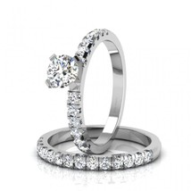 Promise Rings For Women White CZ Bridal Wedding Ring Set In Solid 18k White Gold - $879.99