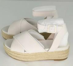 Nine West Showrunner Platform Sandals Sz 6 Off White Leather Womens Espadrilles - $40.50