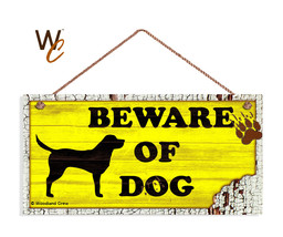 Beware of Dog Sign, Yellow Rustic Decor, Lab Dog Sign, 5x10 Rustic Wood ... - $11.39