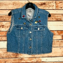 Vintage Andrew's Blues Womens Size Large Cropped Jean Denim Vest Embroidery - $16.79