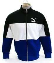 Puma Signature Black Blue & White Retro Quilted Zip Front Track Jacket M... - $104.99