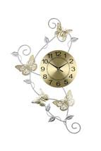 "Gold & Silver Metal Wall Clock w/ Butterflies & Leaves 30"" x 17"" - $32.50"
