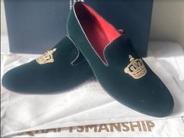 Handmade Men's Green Velvet Embroidered Slip Ons Loafer Shoes image 4