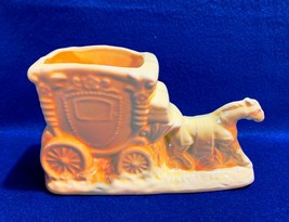 Pottery planter horse & carriage in yellow, Made In USA, vintage, nice f... - $11.87