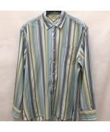 Tommy Bahama Mens XXL Blue Green Striped Tencel Long Sleeve 2XL - $24.48