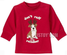 NWT GYMBOREE Don't Ruff with Reindeer PUP with antler T-Shirt Red Christ... - $12.99