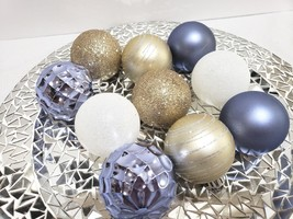 10 Coastal Beach Periwinkle White Gold Christmas Ball Glitter Ornaments ... - $16.99