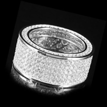 Sterling Silver Mens Pinky White Diamond Wedding Engagement Internity Band Ring - £145.03 GBP