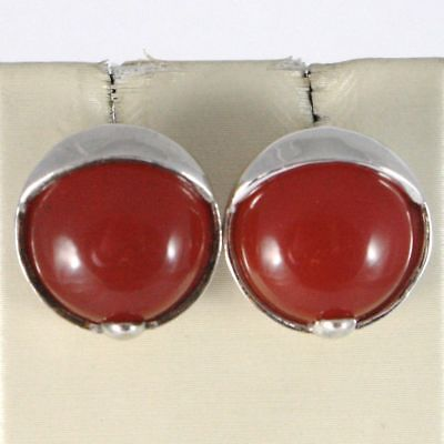 EARRINGS SILVER 925 RHODIUM WITH CARNELIAN RED ROUND BRIGHT BUTTON