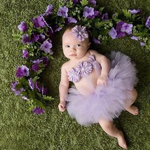 Newborn baby girls purple tutu 3pc set for 1st picture outfit photo prop... - $10.99