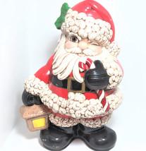 Vintage 1987 BON Christmas Santa Holding Light Candy Cane Ceramic Figurine - $79.99