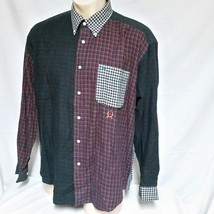 VTG 90s Tommy Hilfiger Button Down Shirt Colorblock Patchwork Jeans Ski ... - $48.99