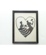 Vintage Framed Silhouette Cross Stitch Courting Couple Glass  - $39.00