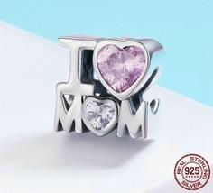 925 Sterling Silver I LOVE MOM Charm Pink CZ Beads fit Pandora Bracelet - $17.99
