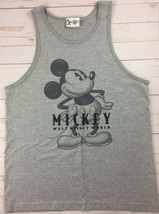 Vtg Mickey Mouse Walt Disney World Sleeveless Gray Tank Top T Shirt sz Medium  - $21.03