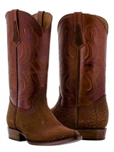 mens cognac brown buffalo bull bison leather rodeo western cowboy boots ... - $149.99