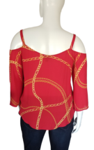 Bold Elements Cold Shoulder Blouse Size XL in Red image 3