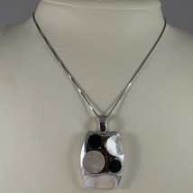 .925 SILVER RHODIUM NECKLACE WITH RECTANGULAR PENDANT, MOTHER OF PEARL AND ONYX image 1