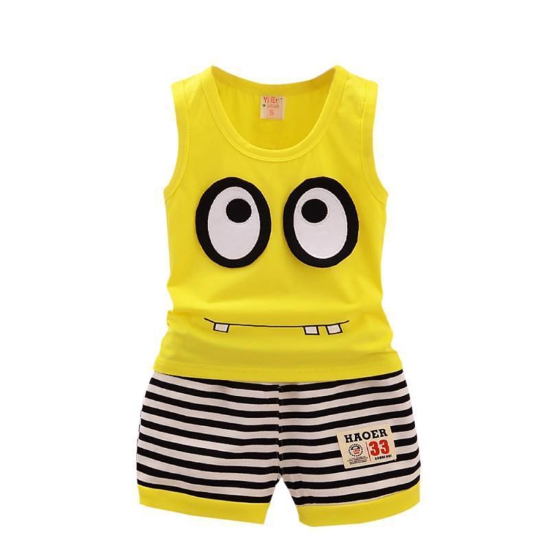Two Set Cotton Clothes Sleeveless And Short For Toddler O Neck Cartoons Pattern
