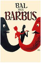 French Vintage Decoration & Design Poster.Bal des Barbus.Home art Decor885i - $9.90+
