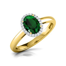 Oval Cut 14k Yellow Gold FN Green Emerald & White Sapphire Engagement Halo Ring - $87.77