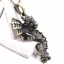 Necklace and Pendant, Silver 925, Burnished Satin, Dragon, Chain Rolo ' image 2