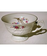 Tea Cup Footed Rose Silver Trim - $8.91