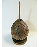 Wood Pineapple Tiki Carved Hor D'Oeuvre toothpick holder and Serving Dis... - $38.61