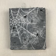 7 Oz Fabric Traditions Scrap Gray Spiders Webs Sparkly Halloween Remnants - $14.80