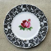 Royal Albert Senorita Salad Plate Bone China England 8 inch Black Lace P... - $94.05