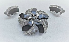 Vintage Brooch & Clip Earrings by Star Rhinestones & Black Acrylic  Larg... - $22.49