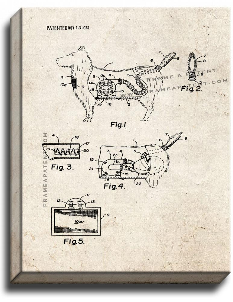 Primary image for Combination Toy Dog And Vacuum Cleaner Patent Print Old Look on Canvas