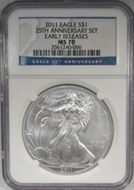 2011 Early Releases American Silver Eagle NGC MS70 25th Anniversary AJ239 - $77.31
