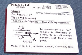 Astatic N641-2s PHONOGRAPH NEEDLE for Shure A53MG Shure A55MG PC10 PC12 751-D1 image 2