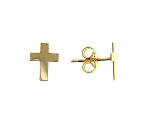 18K YELLOW GOLD EARRINGS SMALL FLAT CROSS, SHINY, SMOOTH, 10mm, MADE IN ITALY