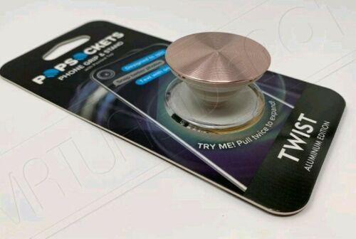 PopSockets Single Phone Grip Universal Phone Holder Twist Rose Gold Aluminum New