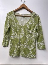 OLD NAVY PERFECT FIT STRETCH MEDIUM Green Floral 3/4 Sleeve TOP - $9.95
