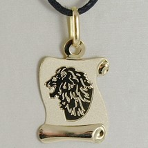 18K YELLOW GOLD ZODIAC SIGN MEDAL, LEO, LION PARCHMENT ENGRAVABLE MADE IN ITALY image 1