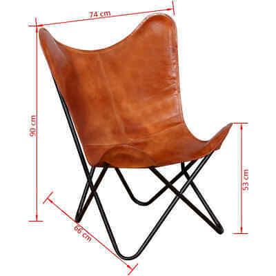 vidaXL Butterfly Chair Vintage Real Leather Brown Hide Sleeper Seat Lounge image 6