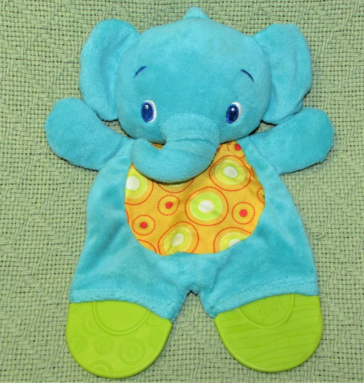 "Primary image for BRIGHT STARTS ELEPHANT BABY PLUSH TOY 10"" TEETHER CRINKLE TUMMY BLUE YELLOW"