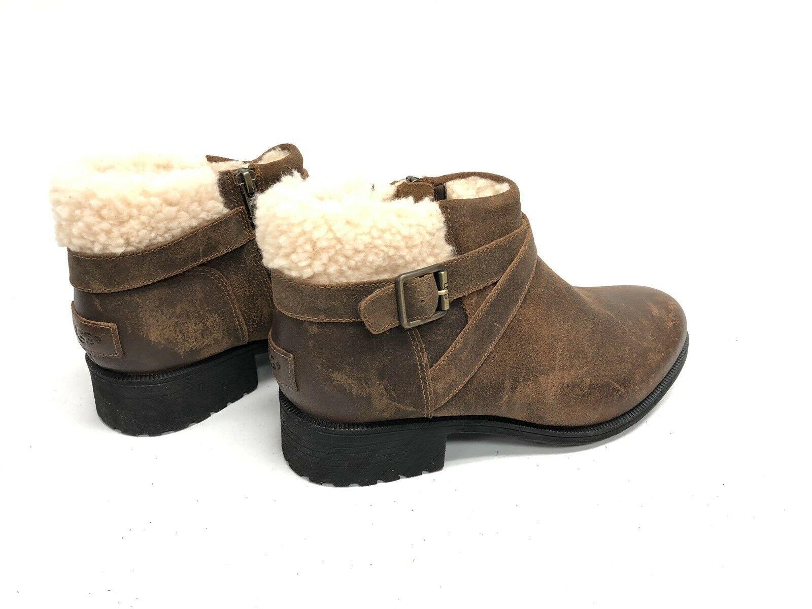 UGG Australia BENSON Buckle Sheepskin Ankle Booties 1095151 Chipmunk Waterproof image 6