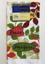 KITCHEN LINENS SET 4pc Towels Potholders Dream Peace Imagine Green Red image 2