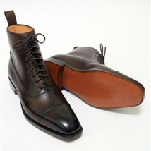 Handmade Men's Brown Leather Two Tone High Ankle Lace Up Boot image 2