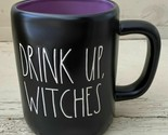 "Rae Dunn Artisan 2020 Black Halloween Mug ""DRINK UP WITCHES'"" New! RARE Purple"