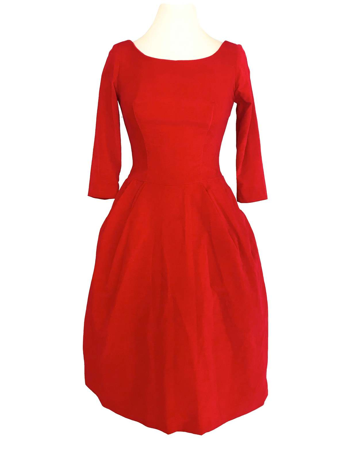 50s Poppy Red Velvet Fit & Flare Xmas Party Bubble Skirt Pin Up Rockabilly Dress image 2