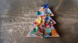 "Vintage 1991 Hand Made Artisan Christmas Tree Brooch 3"" one of a kind - $13.86"